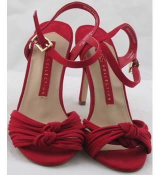 NWOT M&S Collection, size 4.5 red faux suede strappy high heeled sandals