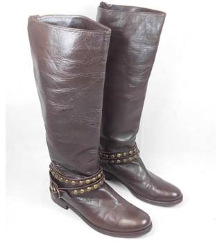 "Brown real leather 1¼"" heel knee high boots (EUR 38)"