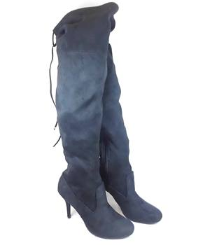 "Black faux suede textile 4"" heel thigh high boots (UK 8)"