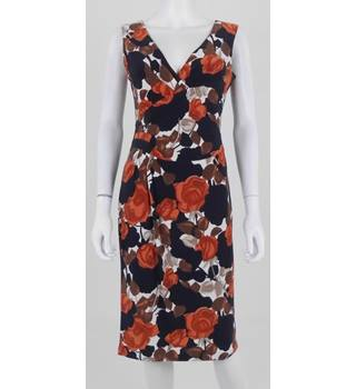 Phase Eight size 10 Black and Rust Rose Print Jersey Midi Dress