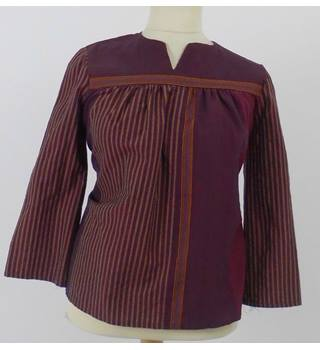 Unbranded Size XL Wine Red and Yellow Stripe Smock Top
