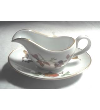 Royal Worcester Evesham Pattern Small Milk Jug With Saucer