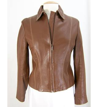 MNG at Mango - Size: L - Brown - Leather Jacket
