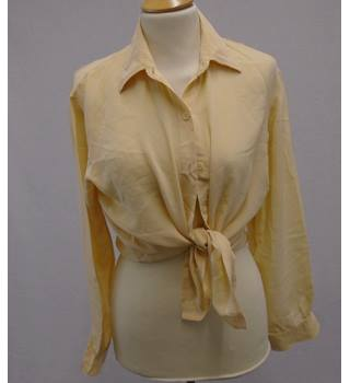 Vintage 80s - Size 14 - Yellow Silk Shirt Blouse