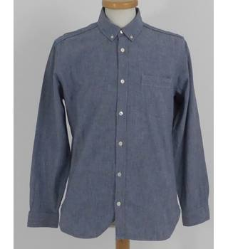Jaeger Size: M Chambray Denim Regular Fit Long Sleeve Shirt