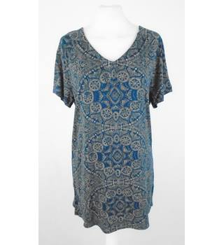 BNWT Fat Face Size 10 Indigo & Cinnamon Patterned Short Sleeved Tunic