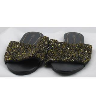 M&S Collection, size 6 black & gold sequinned slide sandals
