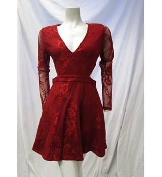 Misguided Size 12 Red Lace Dress Misguided - Size: 12 - Red