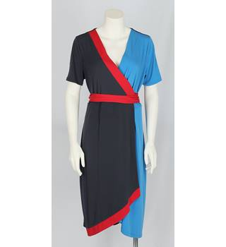 NWOT Per Una Size 18 Navy, Red and Light Blue Wrap Around Dress