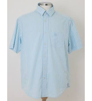 M&S Blue Harbour - Size: L - Sky Blue and White Striped Short Sleeved Shirt