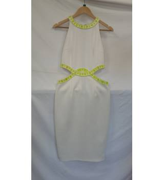 Missguided white neon beaded midi dress size 12 Missguided - Size: 12 - White - Halter-neck