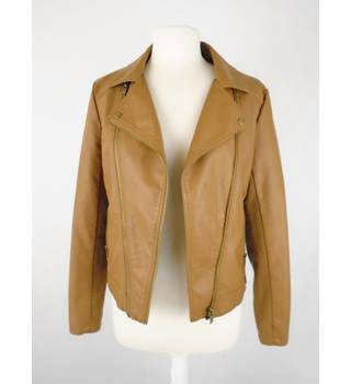 M&S Collection Brown Leather Style Jacket M&S Marks & Spencer - Size: 12 - Brown