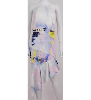 BNWT ASOS Loaded Size: 10 White, Pink and Navy Abstract Print Halter Neck Scuba Dress