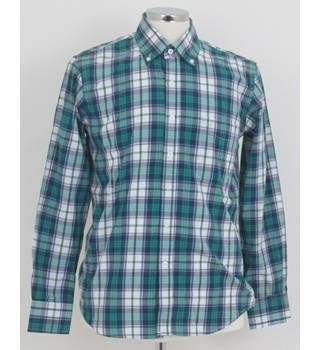 "Unbranded - Size 40"" chest Green, White and Blue Check Pattern Long Sleeved Shirt"