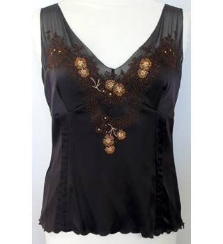 Karen Millen - Size 14 - Brown embroidered silk mix floral top