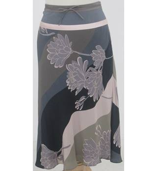 Monsoon - Size: 10 -Navy and Brown  with Floral Design Calf length Skirt