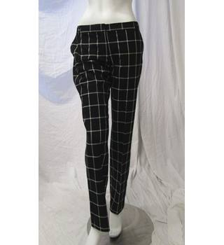 Next Size 12 Long Checked Trousers Next - Size: M - Black