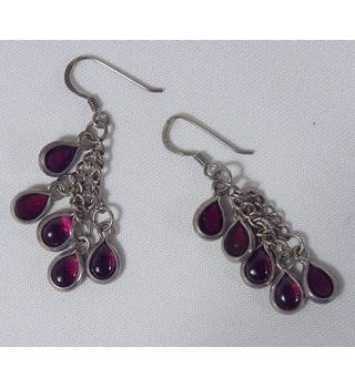 Silver Droplet Earrings Unbranded - Size: Medium - Metallics
