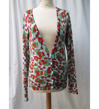 Joe Browns Size: 12 Pale Blue/red floral Cardigan