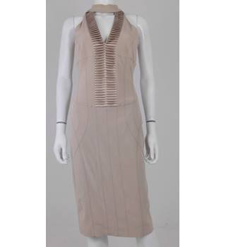 Vintage 00s Y2K Karen Millen Size 10 Champagne Bodycon Cocktail Dress