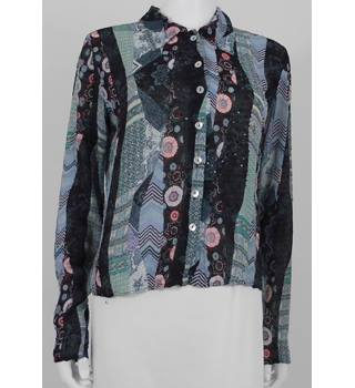 Vintage 1990s Phase Eight Size m Patchwork Print Sequinned Blouse