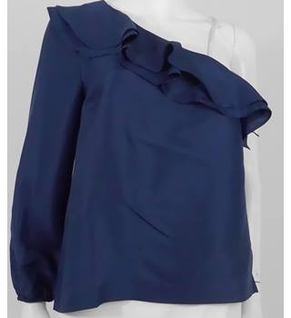 BNWT J Crew Size 4 (Uk 8) Navy Ruffle 100% Silk Cold Shoulder Top