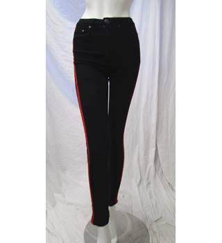 Boohoo Size 6 Black & Red Striped Jeans Boohoo - Size: S - Black