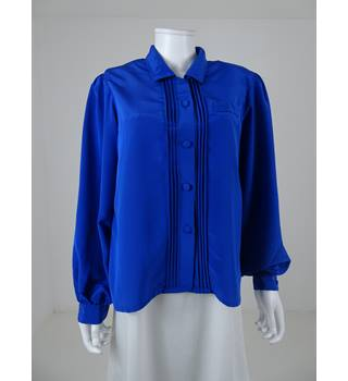 Vintage 1980's Jacques Vert Size: 14 Electric Blue Blouse