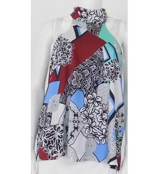 River Island Size 10 Multi-coloured Floral Geometric Halter-Neck Top