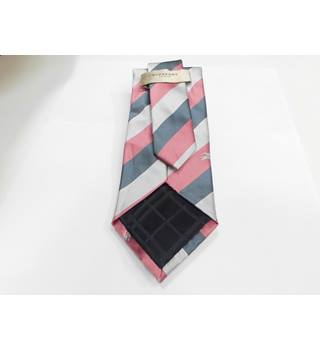 Burberry Pink and Tonal Grey Striped 100% Silk Designer Tie