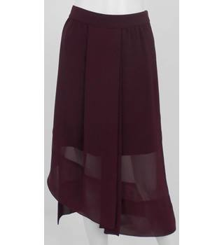 REISS Burgundy Mini Skirt with Asymmetrical Mesh knee length overlay UK Size 12