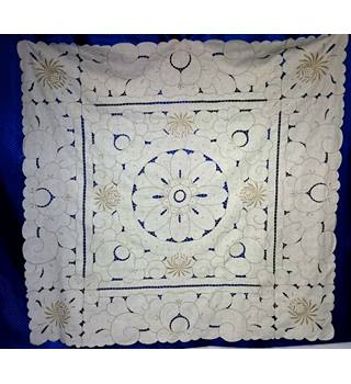 Vintage Decorative Cut Work Madeira Style Tablecloth Hand made - White