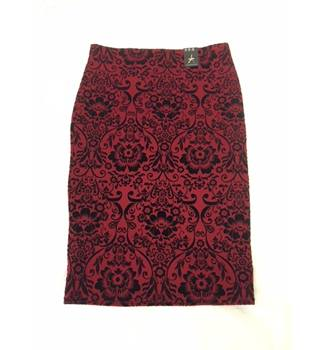 Red patterned pencil skirt from Primark size 14