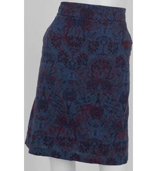 WHITE STUFF Purple/Blue/Red Floral Pattern Knee-Length Skirt UK Size 14 / Euro Size 42