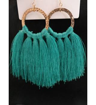 Dorothy Perkins Green tassel fashion earings Dorothy Perkins - Size: Large - Green