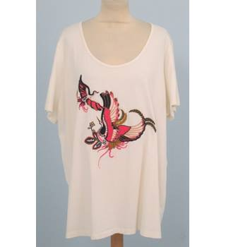 NWOT M&S Collection Size: 22 - Cream T-Shirt with bird motif