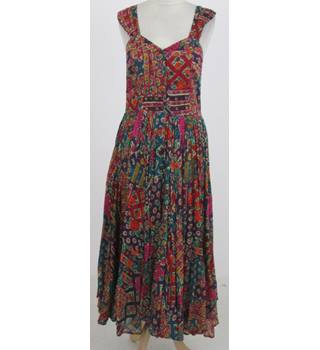Phool Size:L red, green & orange patterned cotton dress