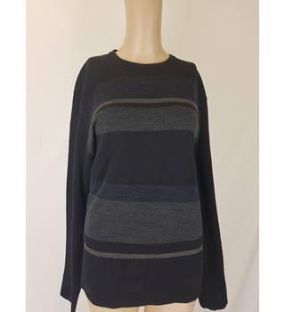 af8c321d072ee Nicole Farhi Black Wool Jumper with Navy Striped Detail - Size S
