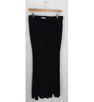 f6be197b038d73 BNWT ZARA WOMAN Black Stretch Flared Trousers UK Size M Leg Length 35""