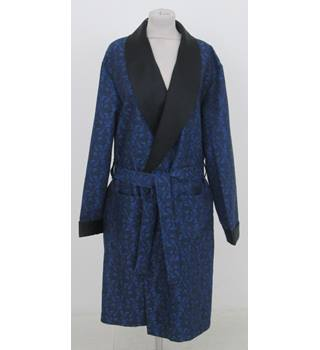 Debenhams Classic Size L Navy Blue and Black Damask Dressing Gown 2df466a04