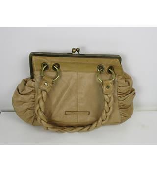 Betty Jackson Black Leather Tan Handbag Size One