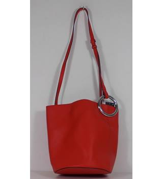 Marks Spencer Red Shoulder Bag With Large Silver O Ring Detail On