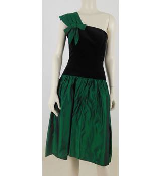 1689718775 Vintage 1980 s Radley Size 10 Black  amp  Bottle Green Evening Dress