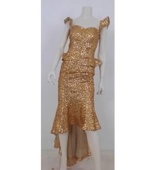 d2d55ded Paula Richi Size 8 Gold Sequin Evening Dress