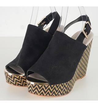 8d1c39489342 Faith Black Suede Wedge Sandals Size 6