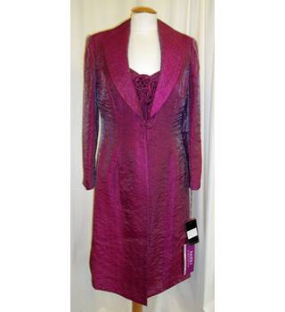 7070fb9eb3 BNWT Frank Usher Size 14 Midnight rose pink Mother of the bride knee length  dress and