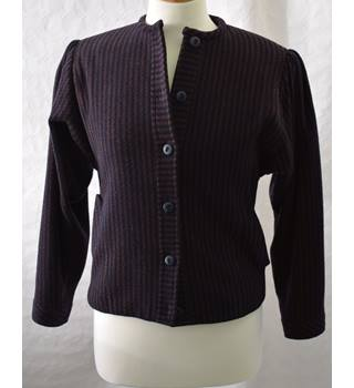 Caroline Charles Size 8 Navy  amp  Brown Vertically Striped Cashmere Skirt  suit b9cfd53a19