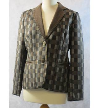 d672c33c94f Vintage checked formal jacket Michael Fisher - Size  14 - Brown