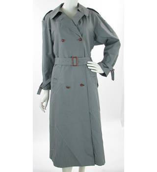 30e782fae5 VINTAGE Ensign Fashions Size 12 Grey (with Patterned Detachable Liner)  Belted Double Breasted Trench
