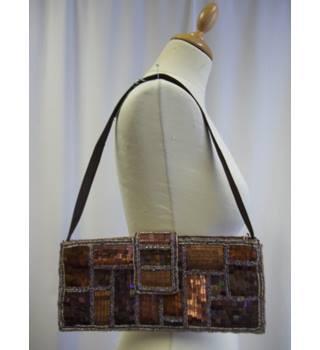 ffdeb25547495 East size S bronze sequinned handbag